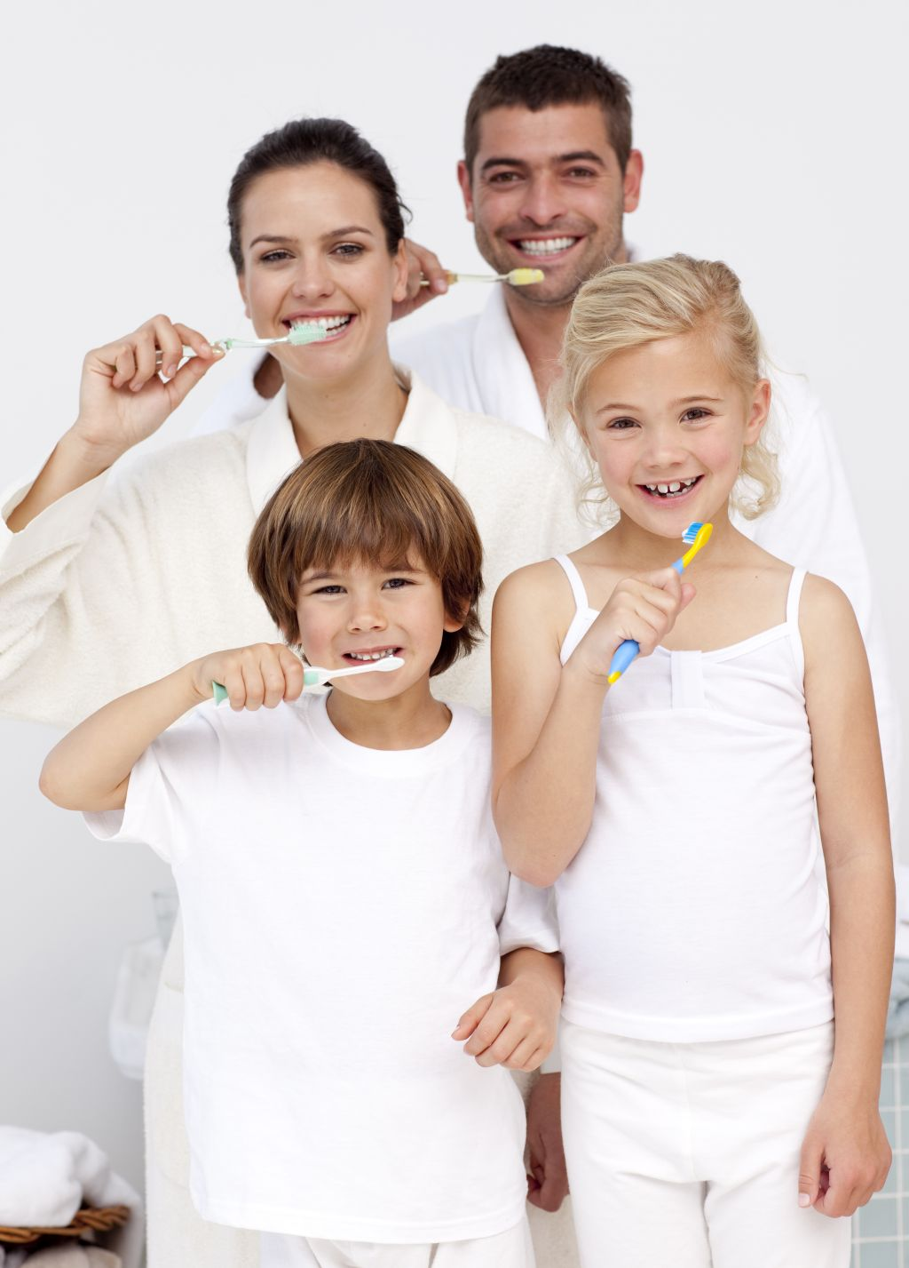 family brushing teeth smaller